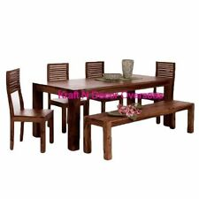 KraftNDecor Wooden Dining Set with 1 Table, 1 Bench & 4 Chairs in Brown Colour