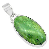 14.72cts Natural Green Swiss Imperial Opal 925 Sterling Silver Pendant P59622