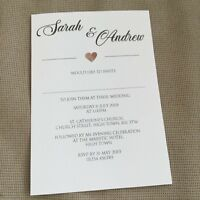 10 Personalised Wedding Evening Invitations Invites Modern Classic Heart Design