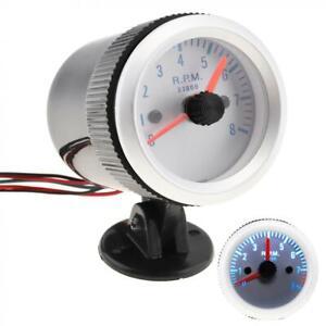 """2"""" 52mm Car 12V Tachometer Tacho Gauge Meter 0-8000 RPM with Black Holder Cup"""