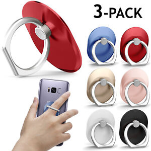 3-Pack Universal Rotating Finger Ring Stand Holder For Cell Phone iPhone Galaxy