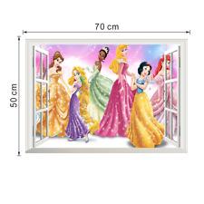 Cartoon Princess 3D Window Wall Sticker Removable Nursery Decor Decals Mural DIY