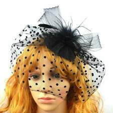 Teardrop Bird Cage Veil Fascinator Hat Black Retro Vintage Wedding Races