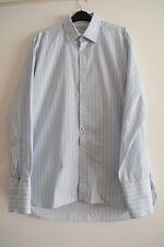 Mens Charles Tyrwhitt White/Blue/Grey Striped Long Sleeve Cotton Shirt Size 16.5