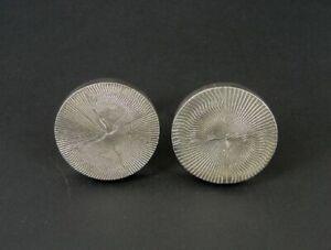 Cufflinks Silver Diamond Wheel Cut Chunky Round Signed Sterling 925