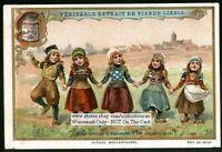 Dutch Young Children Dancing Ile De Marken c1900 Trade Ad Card