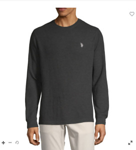 U.S. Polo Assn. Stretch Mens Crew Neck Long Sleeve Thermal Top Medium Black $44