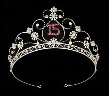 Silver Pink Royal Princess Rhinestone Sweet 15 Quinceanera Tiara Headpiece