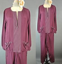 St. John 2 Piece suit SET Silk Loungewear Burgundy Jacket Pants L-XL  *1031