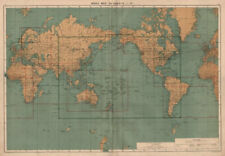 WORLD. Index Map To Charts 1-21. World. Large 50x70cm 1918 old antique