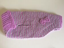 Beautiful Hand Knitted Lilac & Grey Stripe Dog Coat, New, For Small Dog