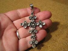 """███►Rarität altes Kreuz mit Steinen/925er Silber """"Handarbeit """" 1950"""