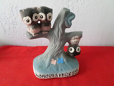 Spencer Gifts Nobody's Perfect Owls on Tree Ceramic Owl Figurine Kitsch 1977