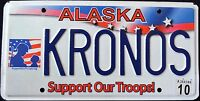 """ALASKA """" SUPPORT OUR TROOPS """" 2010 AK Military Vanity Specialty License Plate"""