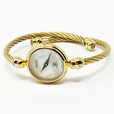 Gucci 2047L Gold Plated Bangle Bracelet Watch Mother Of Pearl Face Vintage