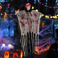 Halloween Hanging Ghost Skull Skeleton Prop Hanging Grim Reaper & Glowing Eyes