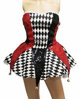 Halloween Cosplay Party Circus Clown Women Costume Tee Dress w/Small Bells