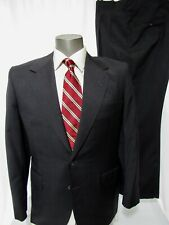$4495 Oxxford Clothes Charcoal Gray Solid Pleat Front 2 Button Suit Size 40R