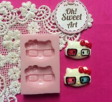 Hello Kitty Glasses Silicone Mold Food  topper Safe Cake Decoration Cupcake(FDA)