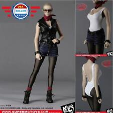 """1/6 Leather Motorcycle Jacket Jeans Set For 12"""" PHICEN Hot Toys Female Figure"""