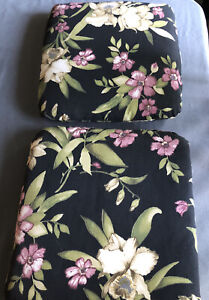 Outdoor Seat Pad Black with Floral Print  -  Set of 2