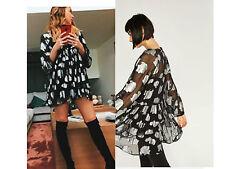 ZARA BLACK SILVER METALLIC FLORAL PRINTED SHEER FLOWING DRESS SIZE M