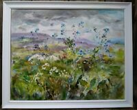 Forget-Me-Nots,Stormy Skies,Wensleydale OIL PAINT CANVAS YORKSHIRE dales. Framed