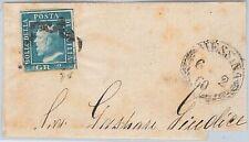 ANTICHI STATI - SICILIA : Sassone 7  su GRANDE FRAMMENTO da MESSINA 1860