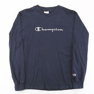 Vintage CHAMPION  Blue 00s Long Sleeve T-Shirt Boys XL