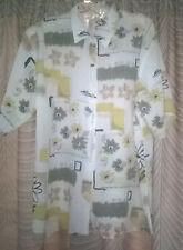 Vintage 1990s Summer Casual Yellow Lilac Floral Print Ladies Blouse, Size 16