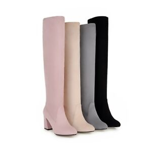 Ladies Clubwear Shoes Faux Suede High Block Heels Over Knee Boots US Size b297