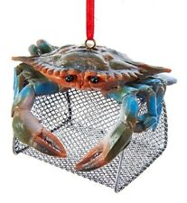 Kurt Adler Blue Crab on Top of Wire Cage Christmas Holiday Ornament