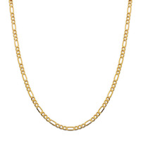 14K Yellow Gold 3.5mm Figaro Link Chain Necklace- Made In Italy- Multiple Length
