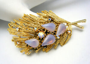 As Is Vintage AB Rhinestone Pink Opalescent Glass Tears Brooch Missing 1 Stone