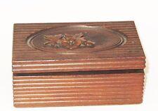 ANCIENNE BOITE A BIJOUX en BOIS FORET NOIRE SOIE BLEUE ANTIQUE JEWELRY BOX