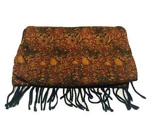 Ermenegildo Zegna Green Red Gold Wool Silk Autumn Fruit Harvest Reversible Scarf