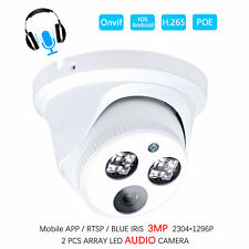 Audio H.265 3MP CCTV HD DC12V/48V POE Sound IP Security Camera ONVIF RTSP NVR US