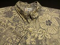 Reyn Spooner Mens 3XL Short Sleeve Button-Down Blue Floral Hawaiian Shirt