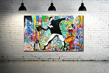 Banksy Thrower Malitov Cocktail - 34 x 20 Canvas Print Collage Graffiti NYC