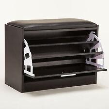Wood Shoe Storage Ottoman Bench Cabinet Closet Shelf Rack Entryway Multipurpose