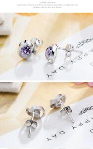 Original 925 Sterling Silver Metal Silver Crystal Rhinestone Ear Stud Earrings