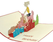 Happy Birthday - Vespa Girl -Handmade 3D pop up greeting/gift card - 11x17cm