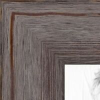 """ArtToFrames Custom Picture Poster Frame Gray Grey Distressed  1.75"""" Wide Wood"""