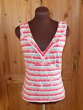 PER UNA pink coral green ivory stripe broderie anglaise camisole vest top 12 40