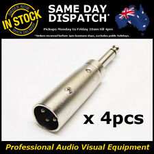 """4 x Male XLR to 1/4"""" 6.35mm Audio Adapter Unbalanced Microphone Mic Connector"""