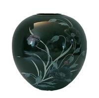 Vintage 1986 Midnight Poppy Arnart Imports  Round Black Vase Gold Rim MI Japan