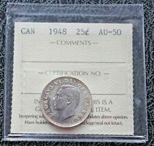 1948 CANADA Silver Quarter - ICCS AU50