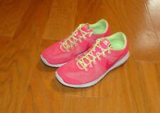 Nike Fury Running Shoes Size 6Y Pink Yellow 705460-600 Training Youth Girl's