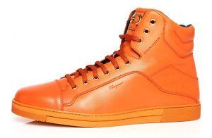 Salvatore Ferragamo Stephen 2 Leather High Top Sneaker Orange Men Sz 14 EE N3739