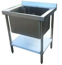 More details for commercial stainless steel single midi pot wash sink w/ undershelf compact deep